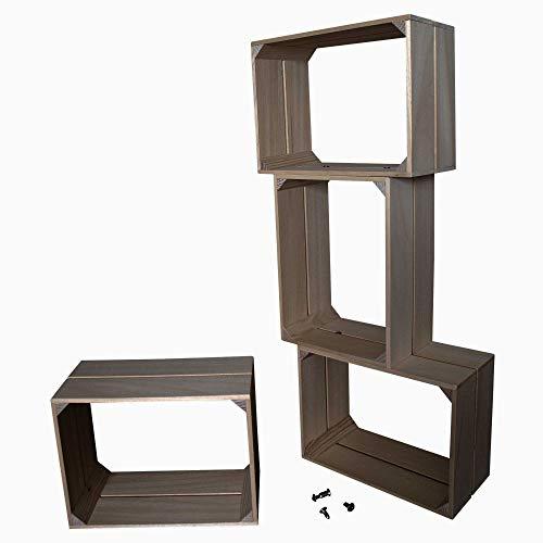 Liza Line Modular Regal mit 4Einlegeböden aus Holz, Vintage Box Stil Bücherregal. Aufbewahrungsbox. Display Regal, Stehen, mit 4Fächer Kiefer Massiv Holz–4Cubes 40x 30x 20cm Taupe