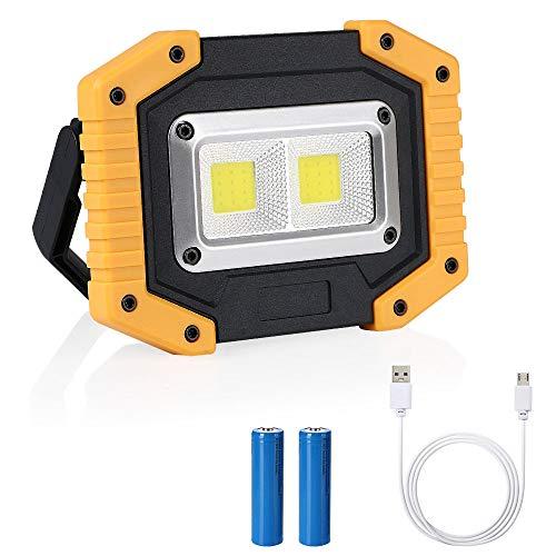 flintronic LED Arbeitsstrahler, 20W Strahler Arbeitslampe (2 * COB) Baustrahler Aufladbare Arbeitsleuchte Wasserdicht für Baustelle Garage Werkstatt (Umfassen 2*Wiederaufladbare Batterien)