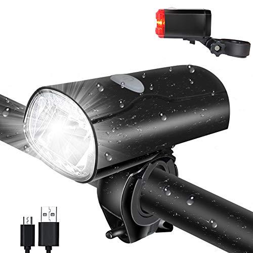 Opard Fahrradlicht Set, StVZO Zugelassen,LED Fahrradbeleuchtung Set, USB aufladbar, LED Fahrradlampe,Fahrradlicht LED, Rücklicht und Frontlicht, Fahrradlichter Kinder mit Li-ion Akku (schwarz)