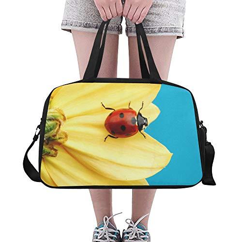 Plsdx Mädchen Tote Sonnenblume Marienkäfer niedlich Yoga Gym Totes Fitness Handtaschen Seesäcke Schuh Beutel für Sport Gepäck Womens Outdoor Zip Tote Bag