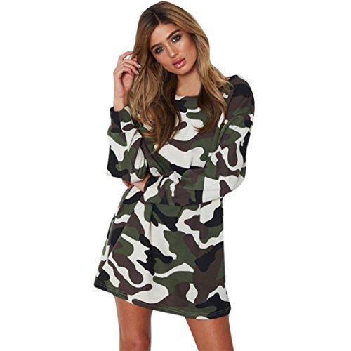VENMO Frauen lässig Neues Herbstkleid Lange Ärmel O-Ausschnitt-Kleid Camouflage Freizeit Crew ÄRmel Gestreift Lose T-Shirt Minikleider Skaterkleid Strickkleid Stretch Kleider Elegant (XL, Army Green)