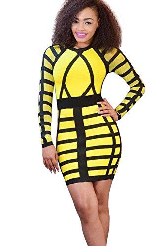 Frauen Sexy Streifen Mini figurbetontes Cocktailkleid Yellow
