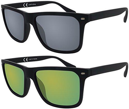 Sonnenbrille La Optica UV 400 Herren Männer Jugendliche Eckig - Doppelpack Gummiert Schwarz (Gläser: 1 x Grau, 1 x Gelb verspiegelt)