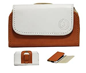 Jo Jo A4 Nillofer Belt Case Mobile Leather Carry Pouch Holder Cover Clip For Iball Andi 5K Panther White Orange