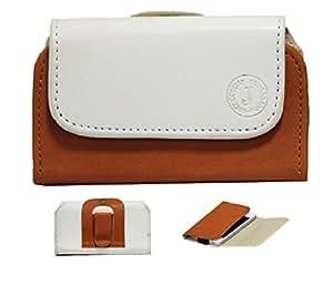 Jo Jo A4 Nillofer Belt Case Mobile Leather Carry Pouch Holder Cover Clip GFive D33 White Orange