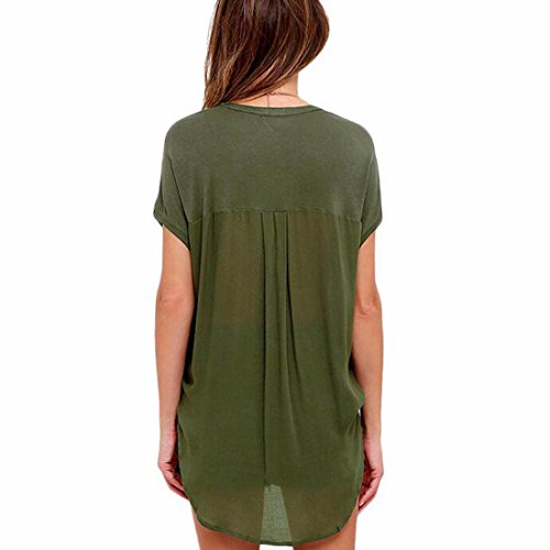 QIYUN.ZMode Femme En Mousseline De Soie T-Shirt À Manches Chauve-Souris Casual Col V Avec Des Sommets De Poche Armée verte