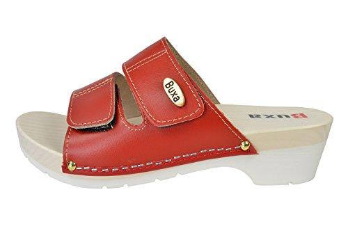 Buxa Damen Leder Sandalen / Clogs mit Doppelt Klettband Riemen und Gummi / Holz Sohle Rot