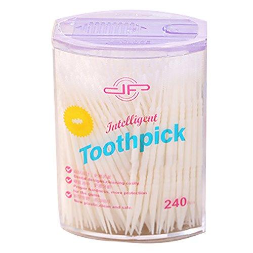 Naisicatar - Einweg-Zahnstocher, Kunststoff, Zahnbürsten für Zahnzwischenräume, Zahnreinigung, Zahnpflegewerkzeug, einfach und schonend, weiß, 50 Stück