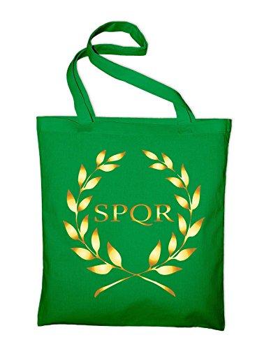 SPQR Rom Wappen Banner Logo Jutebeutel, Beutel, Stoffbeutel, Baumwolltasche, schwarz Grün