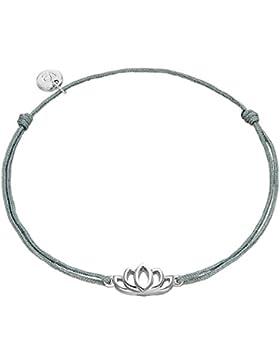 Glanzstücke München Damen-Silberarmband Lotusblume Sterling Silber 15,0 - 22,0 cm, flexibel einstellbar - Textil-Armband...