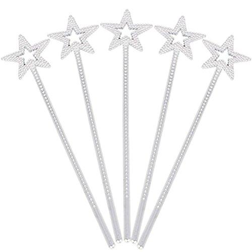 Fee Prinzessin Sterne Magicstab mit Perlen Kinder Party Kostüm Zubehör Gastgeschenk 5 Stück (Silber) ()