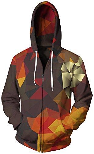 TDOLAH Herren mehrfarbig Hoodie Jacke Sweatjacke mit Kapuzen 026 geometrisch