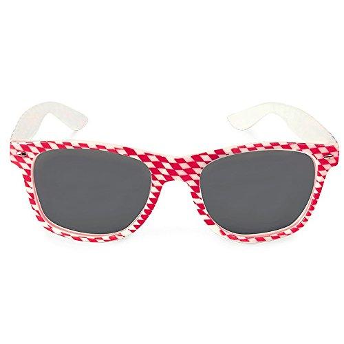 KarnevalsTeufel Bayern Brille rot-weiß Sonnenbrille Accessoire Oktoberfest Wiesn