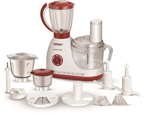 Maharaja Whiteline Smart Chef 600-Watt Food Processor (White and Red)  available at amazon for Rs.4872