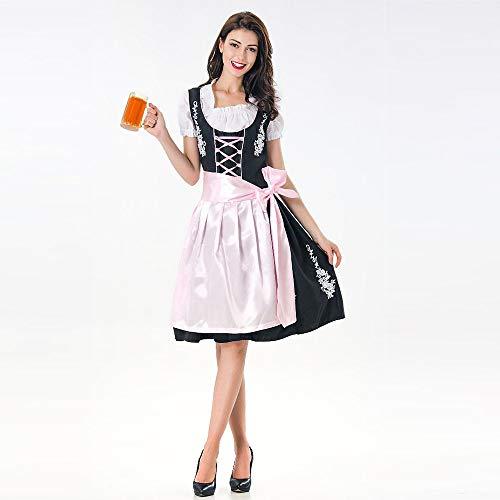 Yazidan Damen Oktoberfest KostüM Bayerisch Bier MäDchen Drindl Taverne Kleid Cosplay Knie LäNge Sexy UnterwäSche Schwarz Weiß FranzöSisch SchüRze Diener Lolita Uniform Overall(Rosa,XL)