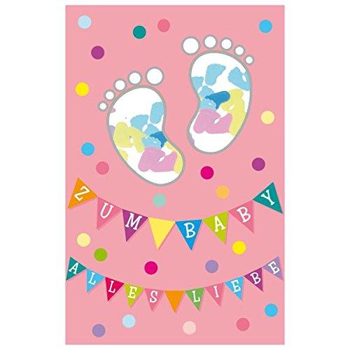 """Susy Card 40010359 Grußkarte zur Geburt/ Mädchen """"Füße"""", Maße: 17 x 11 x 0, 4 cm"""