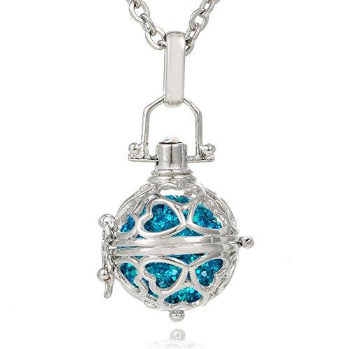 Morella® Damen Halskette Edelstahl 70 cm mit Herz-Kugel Anhänger und Klangkugel Zirkonia Petrol Ø 16 mm in Schmuckbeutel -
