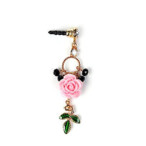 Mavis's Diary Dustproof Plug - Bling Diamonds Gems Earphone Jack Accessories /Cell Charms /Dust Plug /Ear Jack for iPhone SE 5S 6 6S 6s Plus / iPad/ ipod Touch / Samsung Galaxy/ HTC /Huawei Other 3.5mm Ear Jack ( Pink Rose with Green Leaves