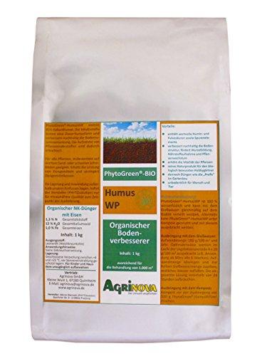 Organische Wurzel Düngen (PhytoGreen®-BIO HumusWP- 1 kg - Organischer NK-Dünger mit Eisen als Bodenverbesserer mit Humin- und Fulvosäuren zur Steigerung der Wurzelbildung und Nährstoffaufnahme von Pflanzen)
