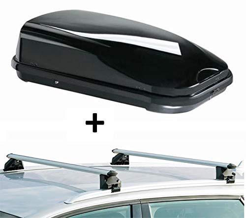 Dachbox VDPFL320 320Ltr schwarz glänzend + Dachträger CRV107A kompatibel mit Audi A3 Sportback (8V) (5 Türer) ab 2012
