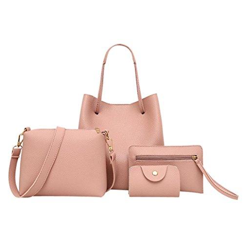 TUDUZ 4Pcs Damen Elegant PU-Leder Handtasche + Umhängetasche + Messenger Tasche + Card Paket (Rosa)