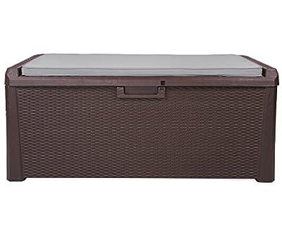 Kissenbox Auflagenbox Santo Rattan Optik Sitztruhe inkl. passender Auflage braun 560 Liter XXL von Ondis24 bei Du und dein Garten