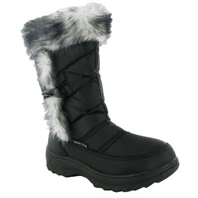 18U Womens Black Faux Fur Wellies Winter Ladies Snow Mucker Boots Sizes 5
