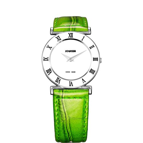 JOWISSA WOMEN'S ROMA 31MM GREEN LEATHER BAND STEEL CASE QUARTZ WATCH J2.168.M