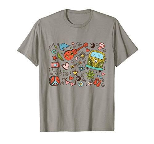 Liebe Love Peace Bus Gitarre Flower Hippie Frieden Cartoon  - Welt Friedens Kostüm