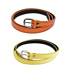 Verceys Yellow And Orange Casual Belts For Women And Girls Fits Up To 34 Waist Size Pack Of 2 Belts