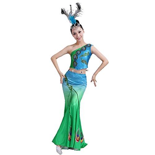 Byjia Frauen Umbrella Tanz Lange Kleider Ethnische Pfau Tanz Fisch Schwanz Rock Klassische Druck Stickerei Rock Moderne Chor Nation Klassische Bühne Aufführungen Kostüme Outfit Green M