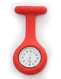 Affaire infirmière de silicone Docteur Broche Tunique montre à gousset - rouge