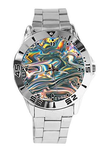 Tie Dye Custom Design Analog Armbanduhr Quarz Silber Zifferblatt Klassisch Edelstahl Band Damen Herren Armbanduhr -