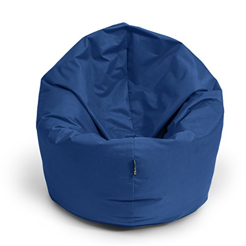 BuBiBag Sitzsack M - XXL 2 in 1 mit Füllung Sitzkissen Tropfenform Bodenkissen Kissen Sessel BeanBag (145 cm Durchmesser, dunkelblau/Marine)