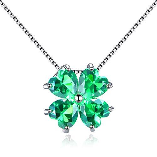 68f4839cc49d JiangXin Plata de Ley 925 Corazón Colgante Collar Mujer Creado Imitado  Esmeralda