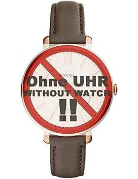 Fossil Uhrband Wechselarmband LB-ES3707 Original Ersatzband ES 3707 Uhrenarmband Leder 14 mm Grau