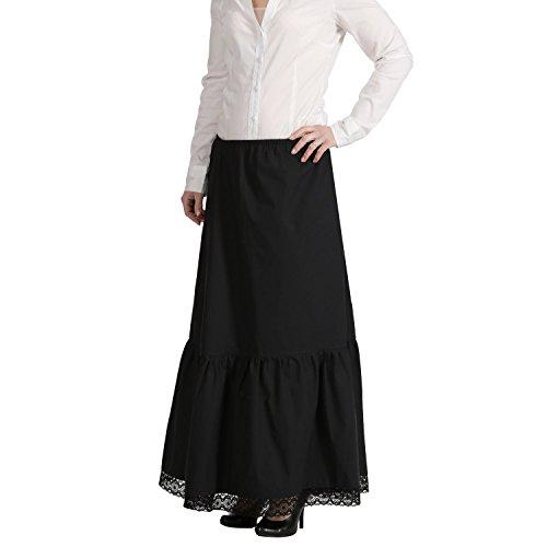 Jobeline - Klassischer, locker leichter Dirndlunterrock, Petticoat, Dirndl Rock, Unterrock Midi 64cm, Maxi 92cm in schwarz, Farbe:maxi schwarz;Größe:XS/S