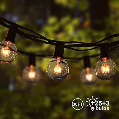 Lichterkette Außen Qomolo Lichterkette Glühbirnen Aussen G40 28er Birnen Garten Beleuchtung für Innen und Draußen mit Ersatzbirnen 9.5 Meter Warmweiß [Energieklasse A+] (Glas Globe Lichterketten)