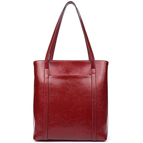BOSTANTEN Damen Ledertasche Handtasche Schultertasche Tote Bag Reißverschlussdekoration Weinrot