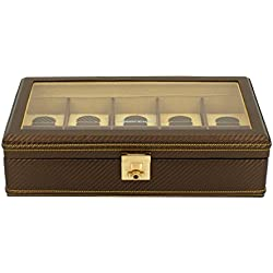 friedrich|23 Unisex Watch Box For 10 Watches Carbon Effect Fine Synthetic Brown 32048 8
