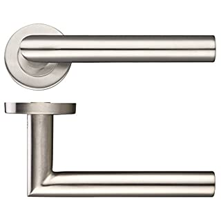 Mitred Lever Door Handle - Satin Stainless Steel