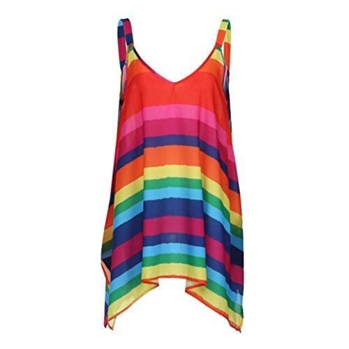 JUTOO Frauen Plus Size Streifen Pullover Sleeveless Unregelmäßige Weste Tank Shirt Tops Bluse (XXXXX-Large, Rot)