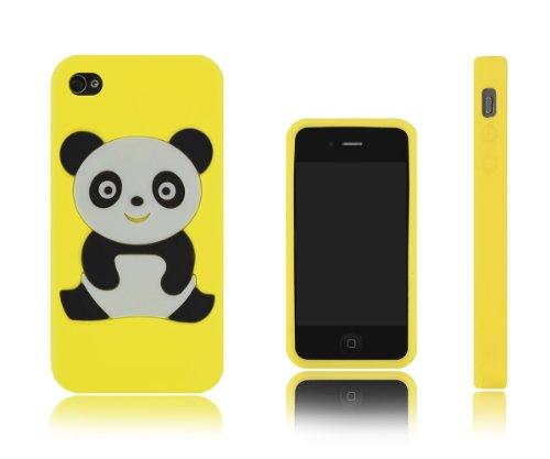 Xcessor Coque de protection en silicone pour Apple iPhone 44S Motif panda jaune