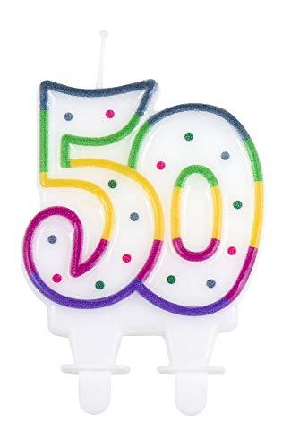 1 STK. Kerze Nummer 50 mit Halter Höhe 7cm Geburtstags Dekoration Kuchen