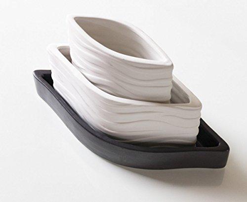 Luft-Befeuchter Wasser-Verdunster Keramik Verdunster 3 teilig weiß anthrazit oval