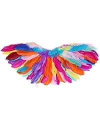 d297b019b Freebily Alas de Pajaros Niñas Adultos Disfraces de Ángel con Plumas  Auténticas Coloridos Ropa Cosplay de