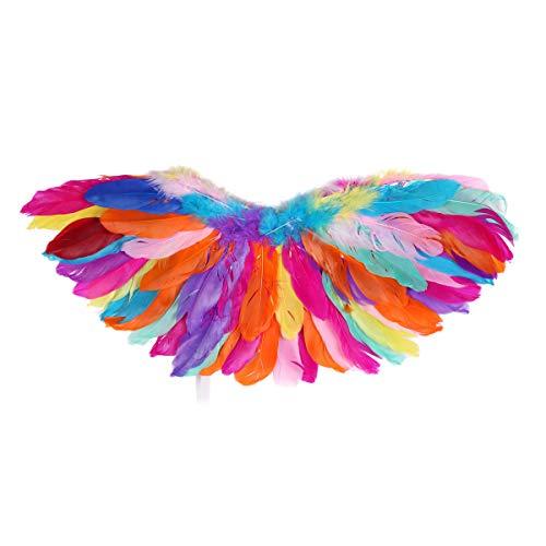 Tiaobug Vogelflügel Kinderkostüm Authentische Federflügel Leuchtende Farben Kostüm Partei Papagei Karneval Fasching Halloween Bunt B Medium (Papagei Kostüm Mädchen)