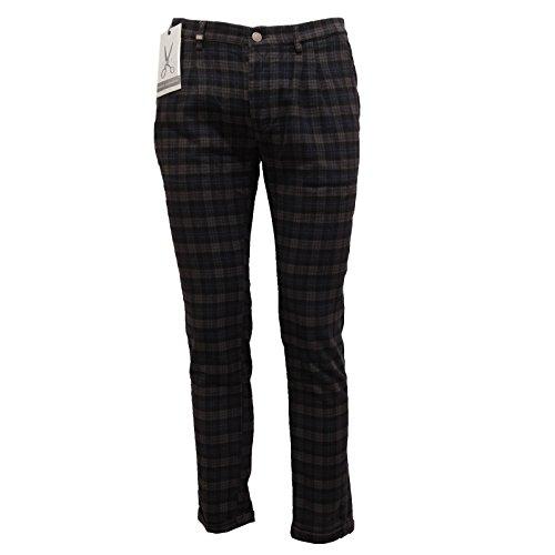 6793Q pantalone uomo DANIELE ALESSANDRINI GREY cotone grigio/nero trouser men [32]