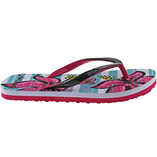 Urban Beach Girls FLIP Flops Size UK 10-2 Thong Beach Sandals Blue/Pink/Purple Flowers FW721