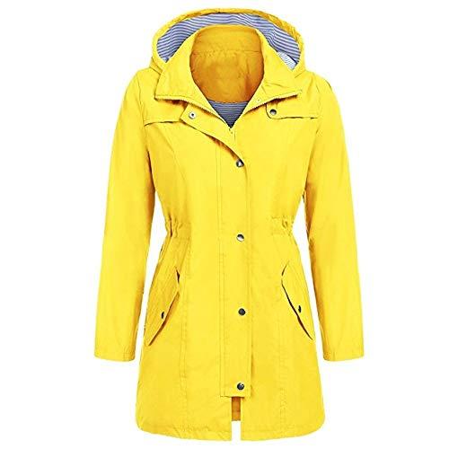 LUGOW Damen Rain Jacket Outdoor Hoodie Wasserdichter Regenmantel Windjacke Mit Kapuzen Winddicht Online Günstig Mäntel Knopf Mantel Windbreaker Reißverschluss Outwear(Small,Gelb) (Faux-gelb-leder-jacke)